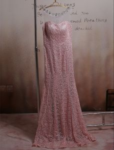 Stunning Pink Formal Dress Pierced Lace Long Evening Dress 2016 New Year Eve Dresses