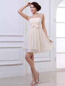 Chiffon Ruffles Round Neck Thigh Length Graduation Dress
