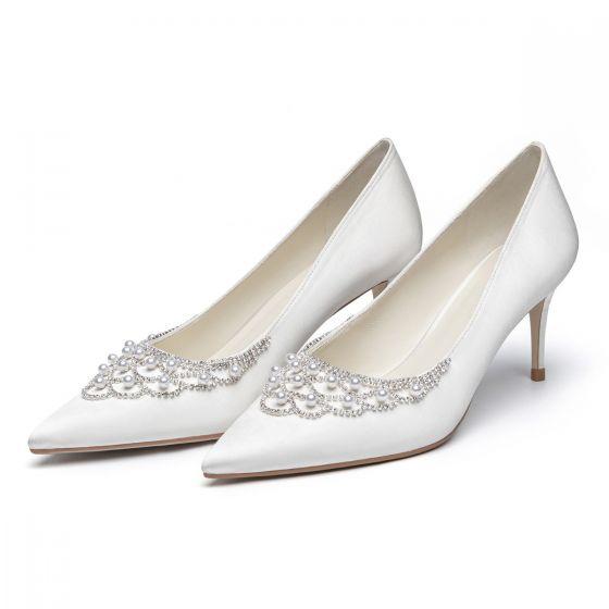 Élégant Ivoire Perle Faux Diamant Chaussure De Mariée 2021 Cuir Satin 7 cm Talons Aiguilles À Bout Pointu Mariage Escarpins Talons Hauts