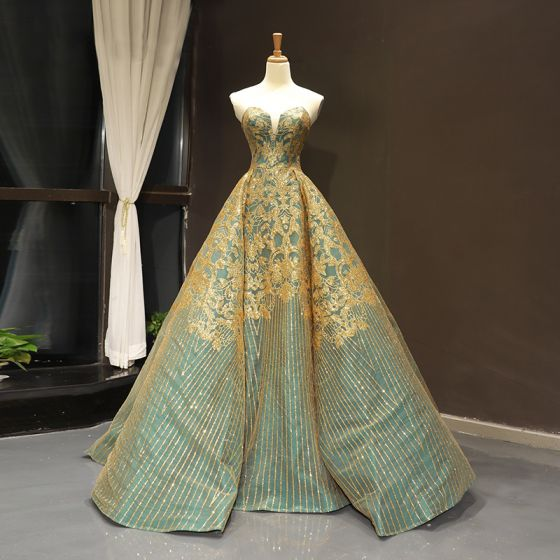 Luxury / Gorgeous Sage Green Dancing Prom Dresses 2020 Ball Gown Sweetheart Sleeveless Gold Appliques Sequins Floor-Length / Long Ruffle Backless Formal Dresses