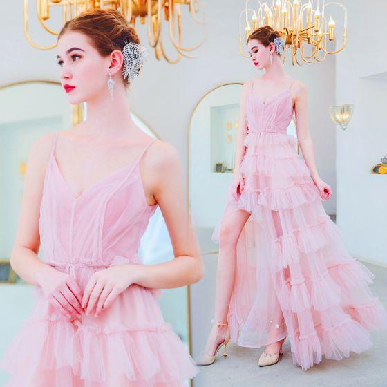 Piękne Cukierki Różowy Sukienki Wieczorowe 2019 Princessa Spaghetti Pasy Bez Rękawów Bez Pleców Kaskadowe Falbany Długie Sukienki Wizytowe