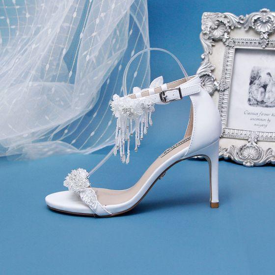 Fantastiske / Unike Elfenben Bryllup Brudesko 2020 Beading Dusk Perle Rhinestone Appliques 9 cm Stiletthæler Peep Toe Hæler