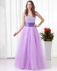 Sweetheart Floor Length Beading Tulle Woman Prom Dress