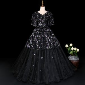 Sparkly Black Prom Dresses 2019 A-Line / Princess V-Neck Star Sequins Lace Flower 1/2 Sleeves Floor-Length / Long Formal Dresses