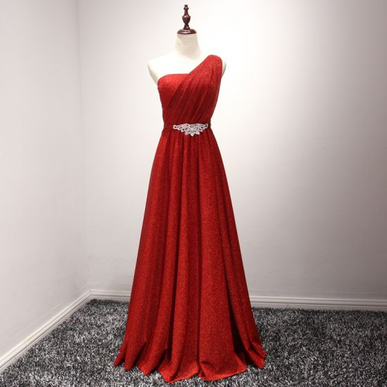 Sparkly Red Evening Dresses  2017 A-Line / Princess Floor-Length / Long Cascading Ruffles One-Shoulder Sleeveless Backless Glitter Rhinestone Sash Formal Dresses
