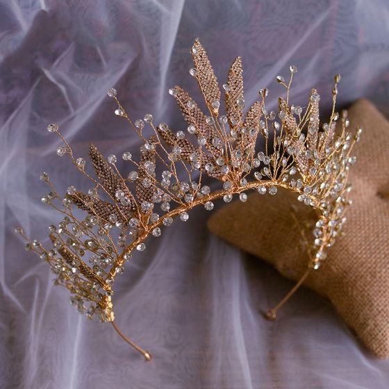 Mooie / Prachtige Goud Bruids Haaraccessoires 2020 Legering Metaal Rhinestone Tiara Huwelijk Accessoires