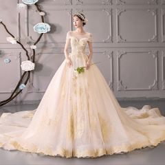 Luxury / Gorgeous Champagne See-through Wedding Dresses 2019 Ball Gown Scoop Neck Short Sleeve Backless Gold Appliques Lace Beading Glitter Tulle Cathedral Train Ruffle