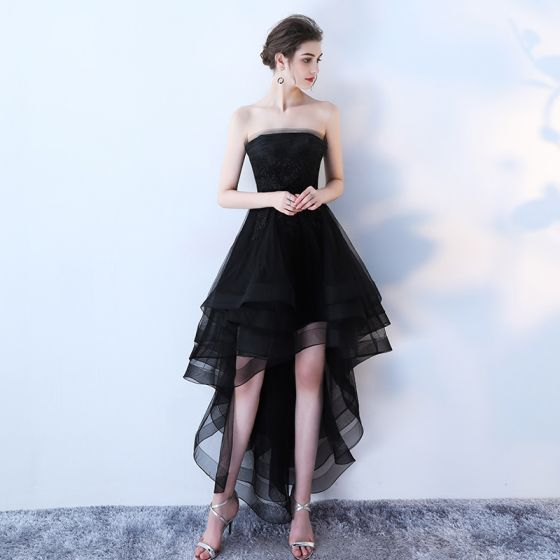 Chic / Beautiful Party Dresses Black 2017 Crossed Straps Appliques Backless Strappy Chiffon Lace Strapless Sleeveless Cocktail Party