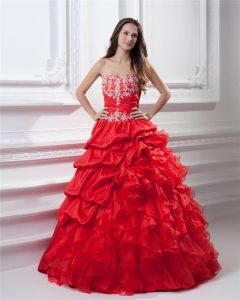 Ball Gown Taffeta Organza Sweetheart Applique Bead Embellishment Floor Length Quinceanera Prom Dresses