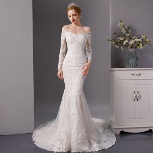 Luxury / Gorgeous Ivory Wedding Dresses 2019 Trumpet / Mermaid Off-The-Shoulder Pierced Long Sleeve Backless Appliques Lace Beading Court Train Ruffle