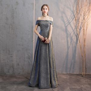 Sparkly Evening Dresses  2019 A-Line / Princess Off-The-Shoulder Glitter Satin Short Sleeve Backless Floor-Length / Long Formal Dresses