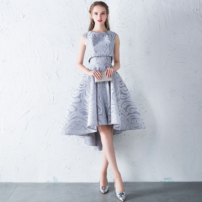 2 Piece Hall Formal Dresses 2017 Graduation Dresses Silver A-Line / Princess Asymmetrical Cascading Ruffles Scoop Neck Sleeveless Backless Lace Appliques