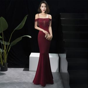 Elegant Burgundy Evening Dresses  2018 Trumpet / Mermaid Short Sleeve Spaghetti Straps Beading Tassel Floor-Length / Long Ruffle Backless Formal Dresses