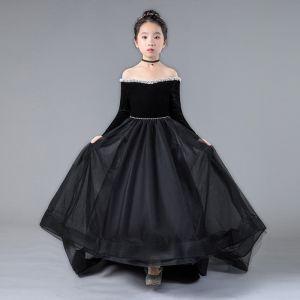 Chic / Belle Noire Anniversaire Robe Ceremonie Fille 2020 Princesse De l'épaule Manches Longues Dos Nu Perle Train De Balayage Volants