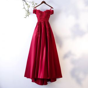 Chic / Beautiful Burgundy Evening Dresses  2018 A-Line / Princess Lace Flower Crystal Rhinestone Sequins Spaghetti Straps Backless Short Sleeve Sweep Train Formal Dresses