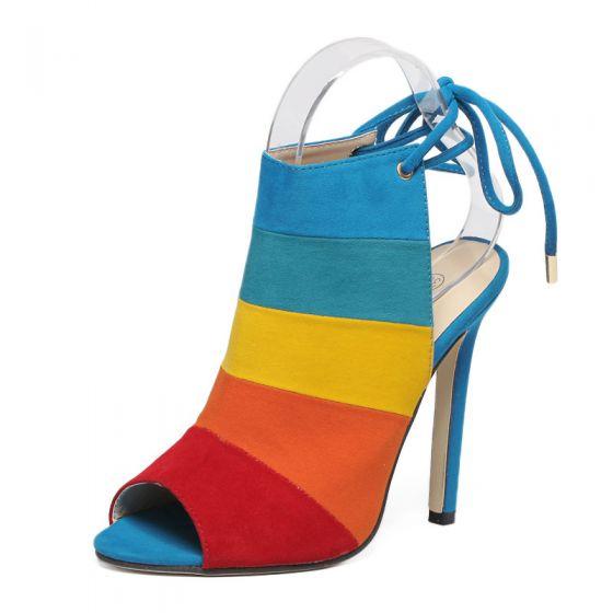 Fine Regnbue Casual Sandaler Dame 2020 11 cm Stiletthæler Peep Toe Multi-Farger Sandaler