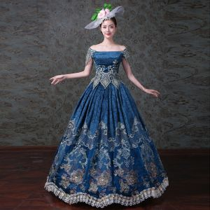 Vintage / Retro Royal Blue Ball Gown Prom Dresses 2018 Charmeuse Lace-up Ankle Strap Flower Strapless Prom Formal Dresses