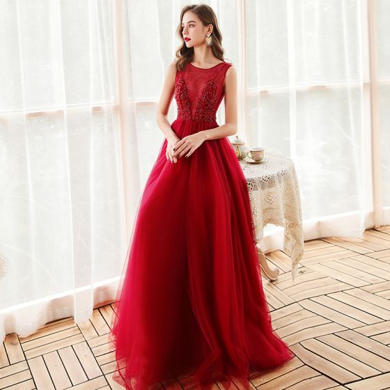 Best Red Evening Dresses  2020 Empire See-through Scoop Neck Sleeveless Beading Rhinestone Floor-Length / Long Ruffle Formal Dresses