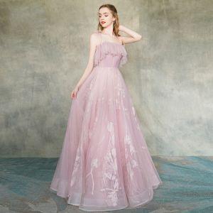 Élégant Rougissant Rose Robe De Soirée 2019 Princesse Bretelles Spaghetti Sans Manches Appliques En Dentelle Longue Volants Dos Nu Robe De Ceremonie