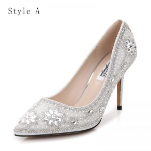 Chic / Beautiful Silver Wedding Shoes 2017 PU Rhinestone Pointed Toe High Heel Pumps