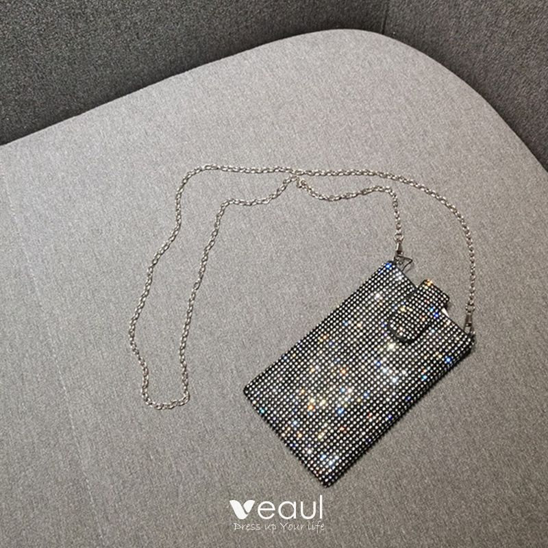 Sparkly Silver Glitter Rhinestone Clutch Bags 2018