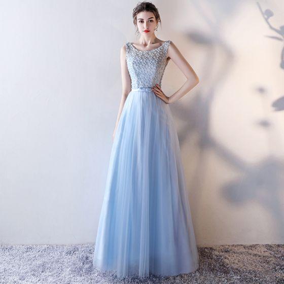 Chic / Beautiful Sky Blue Evening Dresses  2017 A-Line / Princess Scoop Neck Sleeveless Pearl Bow Sash Floor-Length / Long Ruffle Pierced Backless Formal Dresses