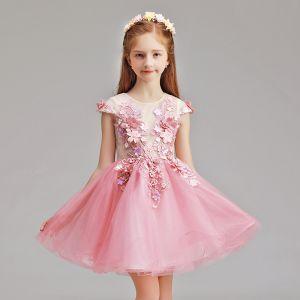 Chic / Belle Rose Bonbon Robe Ceremonie Fille 2019 Princesse Encolure Dégagée Mancherons Appliques Fleur Perle Courte Volants Robe Pour Mariage