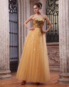 Sleeveless Tulle Satin Sequins Sweetheart Floor Length Prom Dresses