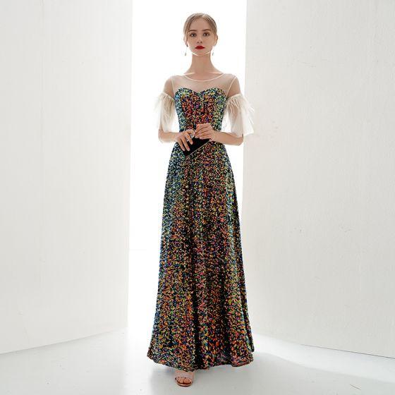 Charmant Multifarben Abendkleider 2019 A Linie Rundhalsausschnitt Pailletten 1/2 Ärmel Rückenfreies Lange Festliche Kleider