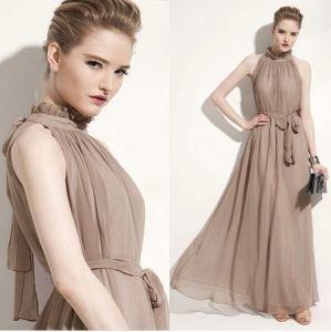 Elegant Summer Khaki Maxi Dresses 2018 Pleated High Neck Short Sleeve Floor-Length / Long Womens Clothing