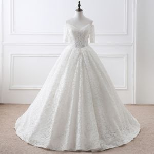 Modest / Simple Ivory Wedding Dresses 2018 Ball Gown Lace Flower Off-The-Shoulder Backless Short Sleeve Court Train Wedding