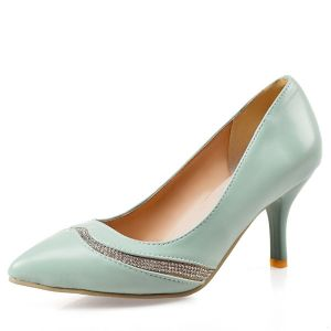 Elegant Patent Leather Blue Pumps 7 Cm Stiletto Heels Womens Shoes With Rhinestone
