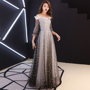 Chic / Beautiful Grey Evening Dresses  2019 A-Line / Princess Off-The-Shoulder Shoulders Puffy 3/4 Sleeve Glitter Star Floor-Length / Long Ruffle Backless Formal Dresses