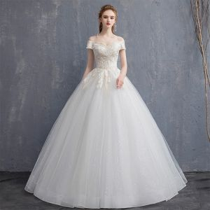 Affordable Champagne Wedding Dresses 2018 Ball Gown Lace Off-The-Shoulder Backless Short Sleeve Floor-Length / Long Wedding