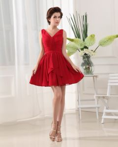 V Neck Sleeveless Thigh Length Pleated Chiffon Woman A-Line Bridesmaid Dress