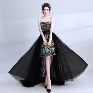 Modern / Fashion Black Cocktail Dresses 2017 A-Line / Princess Sweetheart Sleeveless Embroidered Sweep Train Backless Formal Dresses