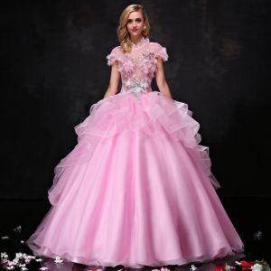 Hermoso Vestidos de gala 2017 Con Encaje Apliques Rhinestone Perla Bowknot Cinturón Sin Espalda Cuello Alto Manga Corta Largos Rosa Gala Ball Gown