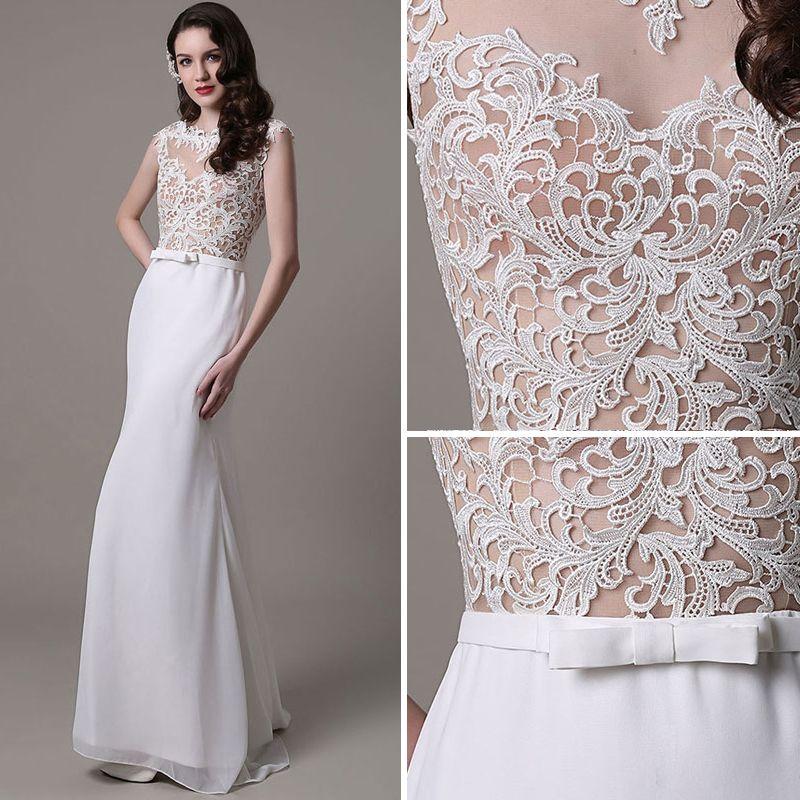 Modern / Fashion White Trumpet / Mermaid Beach Chiffon Wedding Dresses 2017 Scoop Neck Sleeveless Pearl Appliques Lace Sweep Train