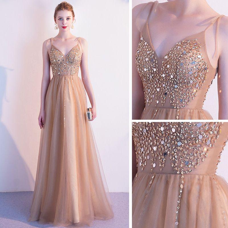 Elegant Champagne Gold Evening Dresses  2020 A-Line / Princess Spaghetti Straps Sleeveless Beading Floor-Length / Long Ruffle Backless Formal Dresses