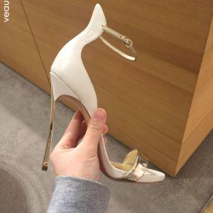 Sexy Beige Abend Leder Sandalen Damen 2020 Knöchelriemen 10 cm Stilettos Peeptoes Sandaletten