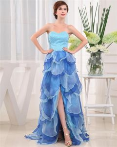 Sweetheart Lace Up Sleeveless Asymmetrical Beading Organza Satin Woman Prom Dress