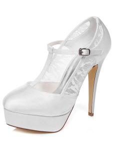 Chaussures De Mariage De Mariée Élégante Dentelle Escarpins À Talons Hauts Stilettos Plateforme