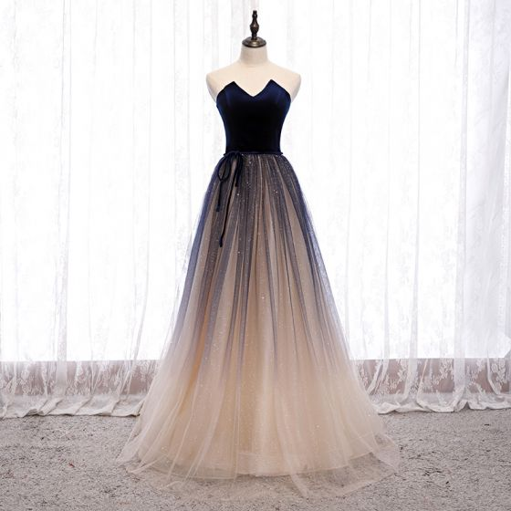Best Navy Blue Gradient-Color Dancing Prom Dresses 2021 A-Line / Princess Sweetheart Sleeveless Sash Glitter Tulle Floor-Length / Long Ruffle Backless Formal Dresses