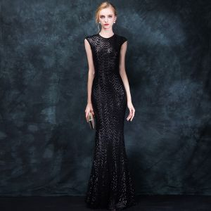 Sparkly Black Evening Dresses  2018 Trumpet / Mermaid Scoop Neck Sleeveless Beading Sequins Floor-Length / Long Formal Dresses
