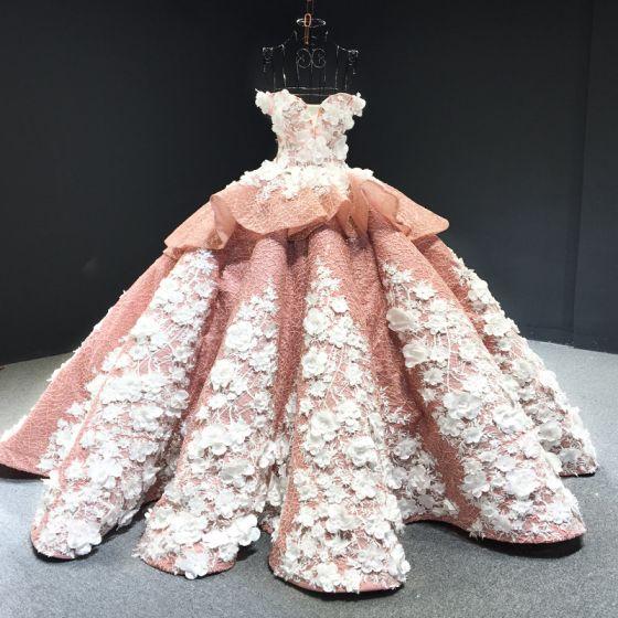 Luksusowe Różowy Perłowy Czerwony dywan Sukienki Wieczorowe 2020 Suknia Balowa Przy Ramieniu Kótkie Rękawy Cekinami Tiulowe Aplikacje Kwiat Frezowanie Trenem Sąd Wzburzyć Bez Pleców Sukienki Wizytowe