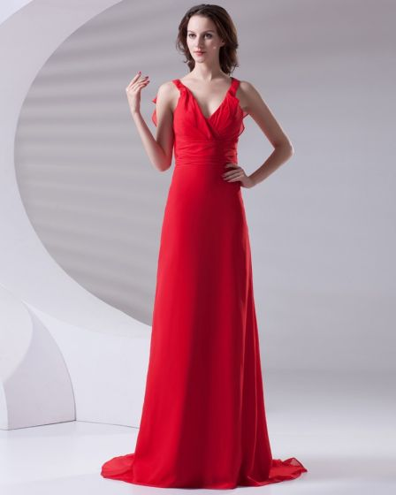 Slim Ruffle Design V Neck Floor Length Chiffon Bridesmaid Dress