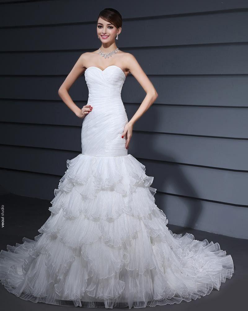 Mermaid Organza Strapless Satin Wedding Dresses