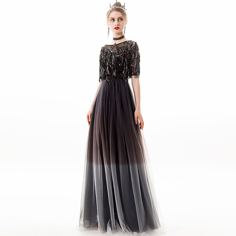 Chic / Beautiful Black Silver Evening Dresses  2019 A-Line / Princess Scoop Neck Sequins Tassel 1/2 Sleeves Floor-Length / Long Formal Dresses