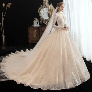Chic / Beautiful Champagne See-through Lace Wedding Dresses 2020 A-Line / Princess V-Neck Long Sleeve Backless Glitter Tulle Beading Pearl Chapel Train Ruffle