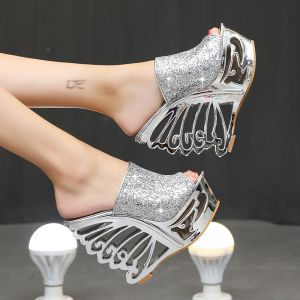 Amazing / Unique Silver Evening Party Womens Sandals 2020 Metal Sequins 15 cm Wedges Open / Peep Toe Sandals
